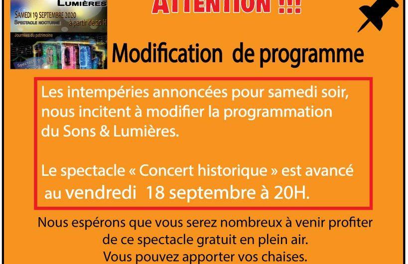 Spectacle Concert Historique avancé au vendredi 18/09